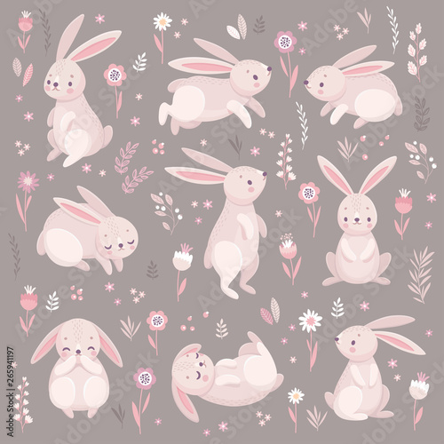 Wall mural Cute rabbits sleeping, runnung, sitting. Lovely