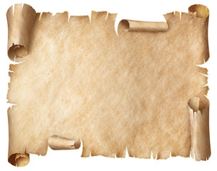 Ancient worn parchment isolated on white