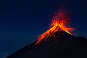 Fuego Volcano eruption, view from volcano Acatenango, Guatemala Wall mural
