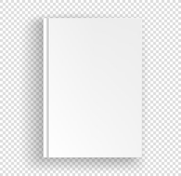 White book a4 format vector mock up isolated on transparent background. Closed book top view vector illustration