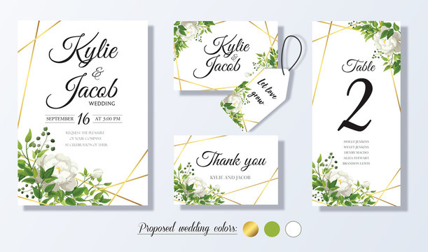 Wedding Invitation, menu, thank you, label, table number card. Floral design with green & gold watercolor leaves white flower decorative frame print Vector elegant cute rustic greeting invite postcard