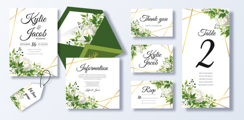 Wedding Invitation, menu, rsvp, information, thank you, label, save the date card, table number, envelope. Floral design with green watercolor leaves, white rose flower greenery decorative frame print Wall mural