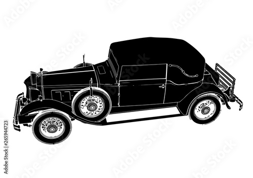 Vintage Car Silhouette Isolated Vector Stock Image And Royalty Free