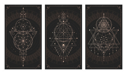 Obraz Vector set of three dark backgrounds with geometric symbols, grunge textures and frames. - fototapety do salonu