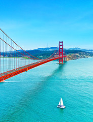 View of Golden Gate Bridge in San Francisco on a sunny day.