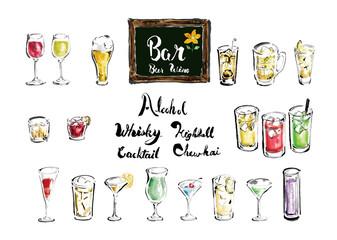 アルコール集合 アルコール お酒 お酒集合 ベクター いろんな グラス 文字 手描き 手書き