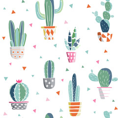 Seamless pattern with cactuses and succulents elements. Vintage vector botanical illustration in watercolor style. Prickly cute green cactuses in cute flowerpots. Hand drawn cactus for design. Vector