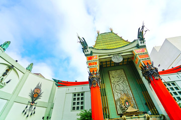 View of TCL Chinese Theatre on the Hollywood Boulevard in Los Angeles.