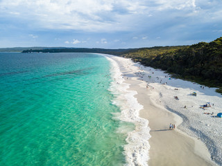 Panorama Drone Aerial Picture of the white sand Hyams Beach New South Wales, Australia