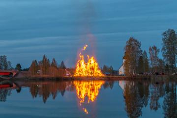 Large bonfire in Sweden celebrating Walpurgis night