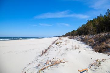 dębki, karwia, morze bałtyckie, morze, bałtyk, plaża, horyzont, nad morzem
