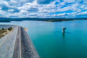 Cardinia Reservoir lake and water tower - aerial landscape Wall mural