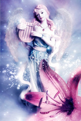 Wall Mural - a beautiful angel archangel Gabriel with harp with lily flower like spiritual, religion, mystical topic