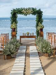 Wedding on the beach, Tropical settings for a wedding on a beach - Bali island. Exotic destination wedding concept