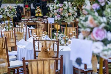 Wedding outdoor table set up. Beautiful garden wedding venue
