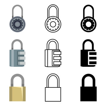Vector Set of Different Style Padlock Icons.
