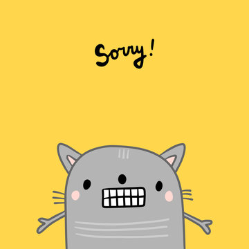 Sorry hand drawn illustration with cute cat grey on yellow font