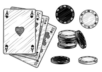 Card and chips illustration, drawing, engraving, ink, line art, vector