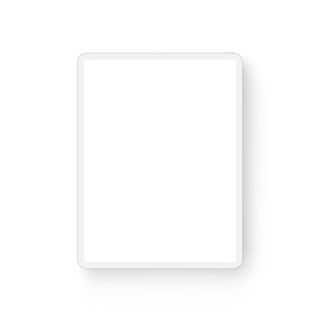 Clay tablet computer mockup - front view. Vector illustration