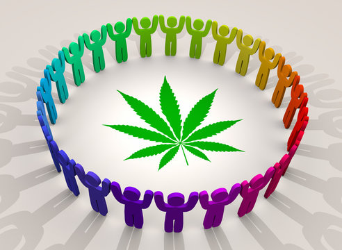 Marijuana Weed Pot Cannabis People Ring Group Customers 3d Illustration