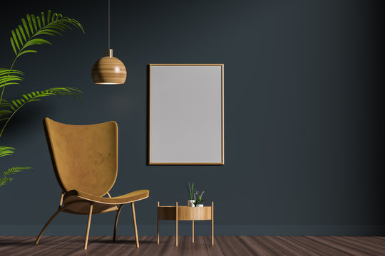 Mock up poster frame in scandinavian style interior. Minimalist interior design. 3D illustration.
