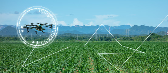 drone for agriculture, drone use for various fields like research analysis, safety,rescue, terrain scanning technology, monitoring soil hydration ,yield problem and send data to smart farmer on tablet Fototapete