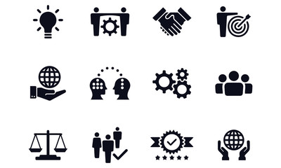 Core Values Icon Set - Illustration black and white