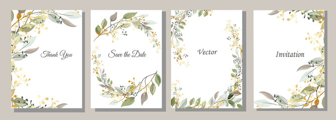 Set of cards with gold and leaves. Decorative invitation to the holiday. Wedding, birthday. Universal card. Template for text.  Vector illustration.