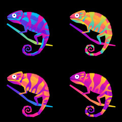 Abstract cute paper cut chameleon pattern background. Childish crafted chameleon for design birthday card, veterinarian clinic poster, pet shop sale advertising, bag print etc.