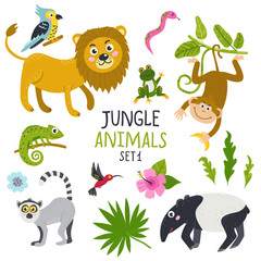 Vector set of cute animals from jungle and plants