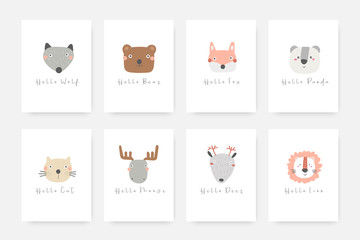 Animals set including wolf, bear, fox, panda, cat, moose, deer, lion.