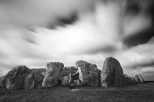 Details of stones and the environs in the Prehistoric Avebury Stone Circle, Wiltshire, England, UK