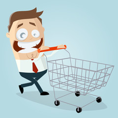 happy businessman with empty shopping cart