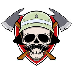 firefighter skull sign with shield helmet and axe