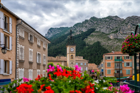 Scenic town of sisteron on the banks of the river durance on the route napoleon through the french alps popular tourist destination in Provence, Alpes-de-Haute-Provence, France.