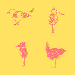 Vector funny hand drawn abstract bird ilustration, scandinavian style