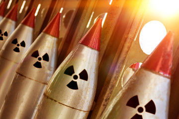 The nuclear warheads of a ballistic missile are aimed upwards for a nuclear strike. army weapons.  the threat of a weapon.