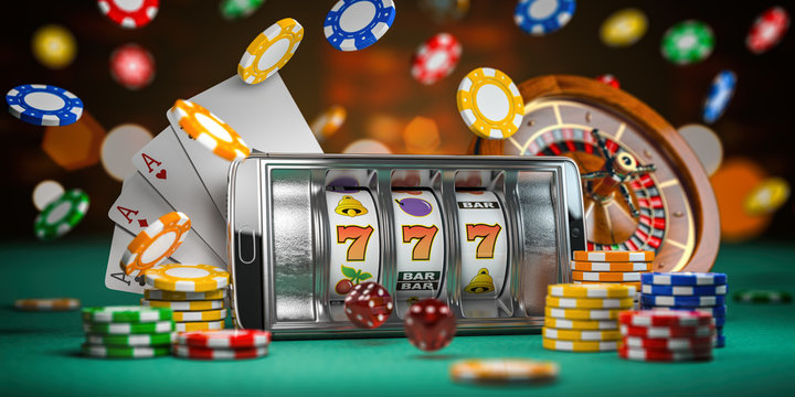 Online casino. Smartphone or mobile phone, slot machine, dice, cards and roulette on a green table in casino. 3d