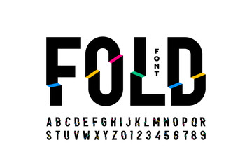 Folded style colorful font design, alphabet letters and numbers Wall mural