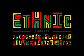 Ethnic style font design, alphabet letters and numbers