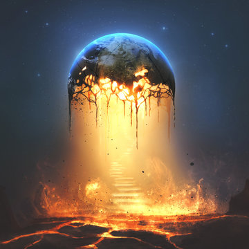 Fire and stairs from earth