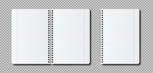 Vector realistic open Notepad template. Mockup notebook with lines for the label.