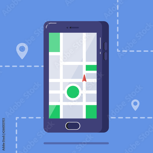 Mobile phone with map and marker  Mobile gps navigation and tracking