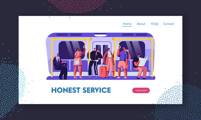 People in Metro Website Landing Page, Passengers in Underground Using Urban Public Transport. Tourists and Native Citizens Going by Subway Train Web Page. Cartoon Flat Vector Illustration, Banner