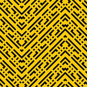 cool yellow black Art Deco Seamless kraft paper brown and black grunge diagonal vintage ancient tribal geo op art mod pattern