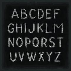 Hand drawn alphabet. Uppercase letters. Black chalkboard background. Template for your design works. Vector illustration.