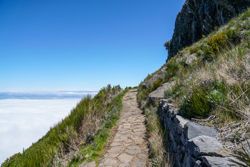 Landscape at Pico de Ruivo in Madeira island in a beautiful sunny day