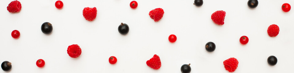 Wide Angle food Background with different fresh berries