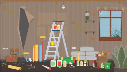 Trash living room before repair. Flat dirty interior in cartoon style.