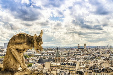 Gargoyle on Notre Dame Cathedral, Paris, France Wall mural
